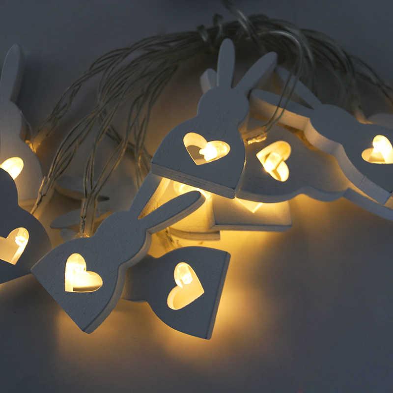10 LED paskalya parti LED dize ışık paskalya parti dekorasyon ahşap tavşan peri ışıkları çelenk paskalya süslemeleri için ev