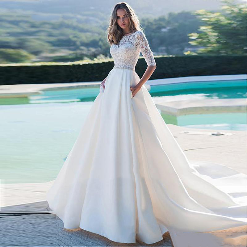 LORIE Princess Wedding Dress Half Sleeves Elegant Appliqued A-Line Bride Dresses With Pockets Boho Wedding Gown 2020