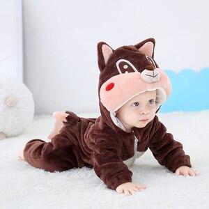 Image 4 - Newborn Baby Onesie Romper Cute Squirrel Baby Girl Boys Clothes Kigurumis Rompers Kid Infant Jumpsuit Warm Costume 0 2 years old