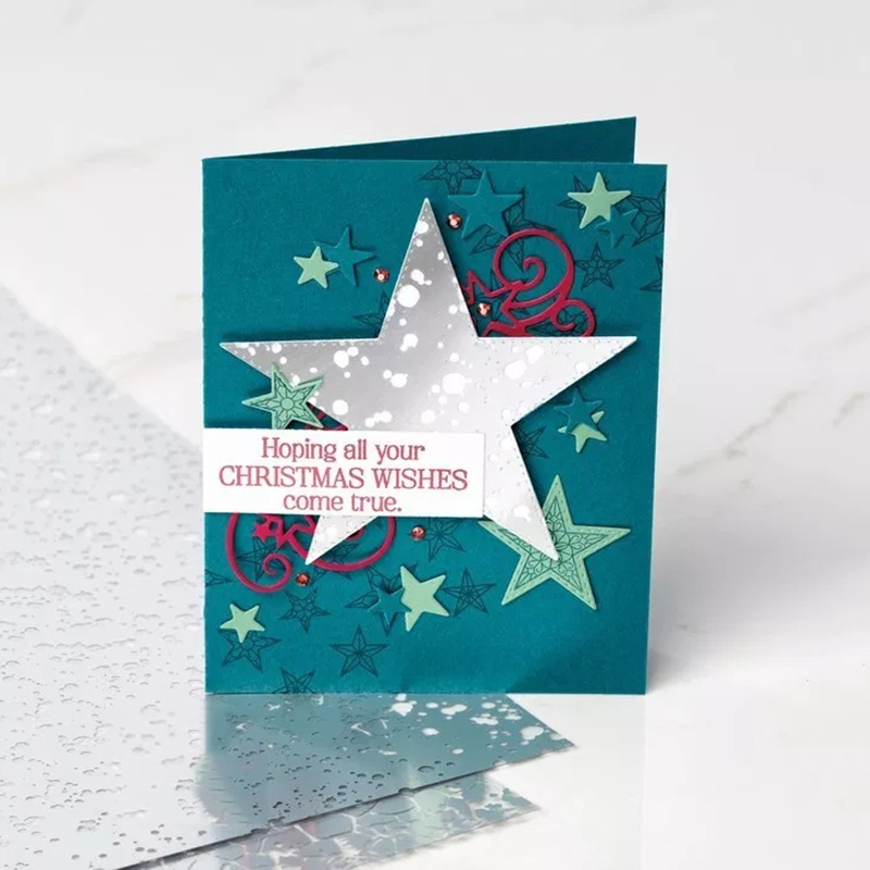 Merry <font><b>Christmas</b></font> Metal <font><b>Cutting</b></font> <font><b>Dies</b></font> <font><b>and</b></font> Rubber <font><b>Stamps</b></font> for DIY Scrapbooking Wishes Star Craft Stencil Card Make Album Sheet Decor image