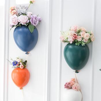 Nordic Ins kreatywna ceramika ściana z balonami wieszana doniczka pokój dziecięcy ściany wiszące wazon na kwiaty ścienne do domu dekoracje na prezenty tanie i dobre opinie CN (pochodzenie) Ściana Europa Kwiat zielonych roślin Ceramiczne Wall hanging type hanging basin type Ceramics Color glaze