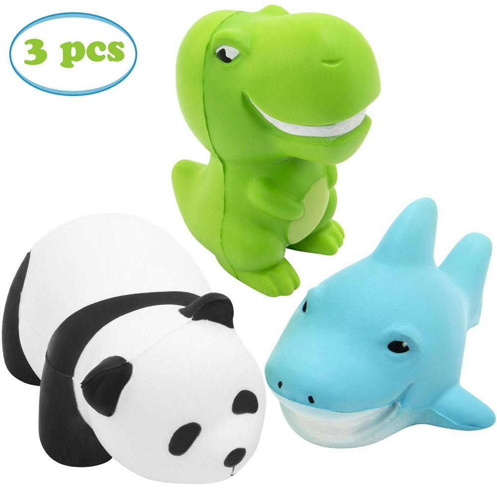 3Pcs/Set Squishy Toys Set Cute Panda+Dinosaur+Shark Slow Rising Squishy Scented Vent Charms Stress Relief Toy For Kids Audlts