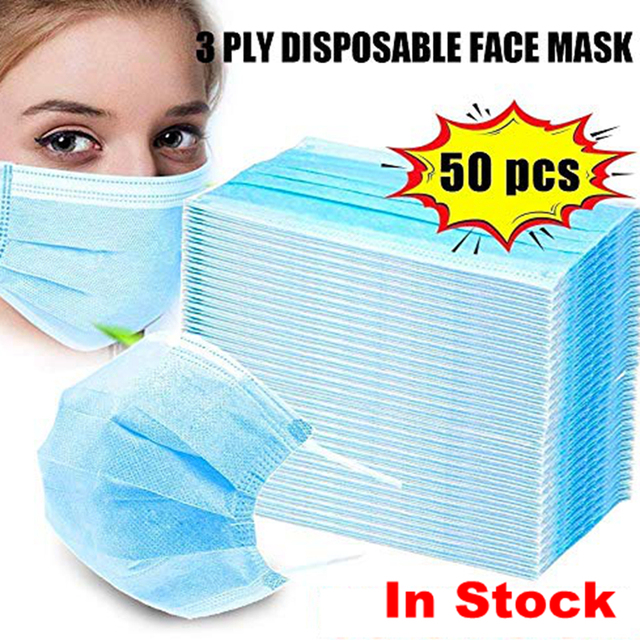 50pcs/ Lot Germ Bacteria Mouth Mask Disposable Blue Non-woven 3-layer Anti Flu Fog Dust-proof Masks Safe Breath