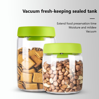 Hot Sale Vacuum Sealed Cans Snacks Tea Storage Storage Bottle Press Evacuation Moisture Home Storage Accessories White/green image
