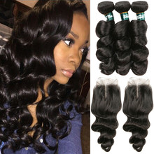 Peruvian Loose Wave Bundles With Closure Middle Part Human Hair Bundles With Closure Spiral Curly Weave 3 Bundles With Closure(China)