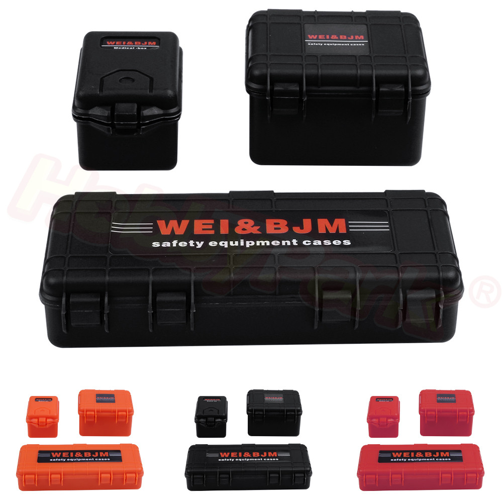 1/10 Scale Safety Equipment Cases Hard Luggage Box Set for RC Crawler Truck Accessories