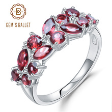 GEMS BALLET 925 Sterling Silver Rose Gold Plated Wedding Band 2.47Ct Natural Red Garnet Gemstone Rings for Women Fine Jewelry