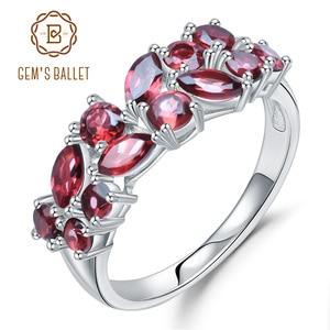 Image 1 - GEMS BALLET 925 Sterling Silver Rose Gold Plated Wedding Band 2.47Ct Natuurlijke Rode Granaat Edelsteen Ringen voor Vrouwen Fijne Sieraden