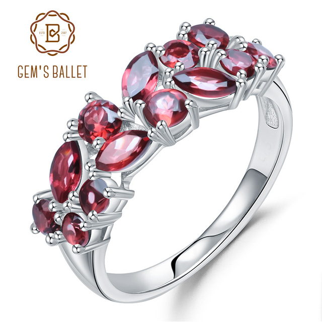 GEMS BALLET 925 Sterling Silver Rose Gold Plated Wedding Band 2.47Ct Natuurlijke Rode Granaat Edelsteen Ringen voor Vrouwen Fijne Sieraden