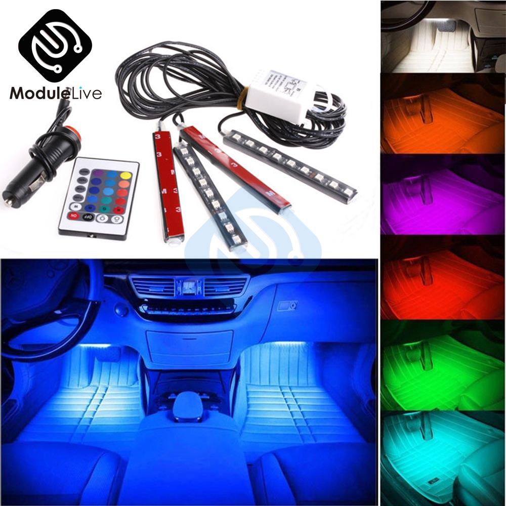 Auto Interni <font><b>4pcs</b></font> 5050 9 <font><b>LED</b></font> Remote Control Cigarette Lighter Colorful <font><b>RGB</b></font> <font><b>Car</b></font> Interior Floor <font><b>Light</b></font> <font><b>Strip</b></font> For Atmosphere image