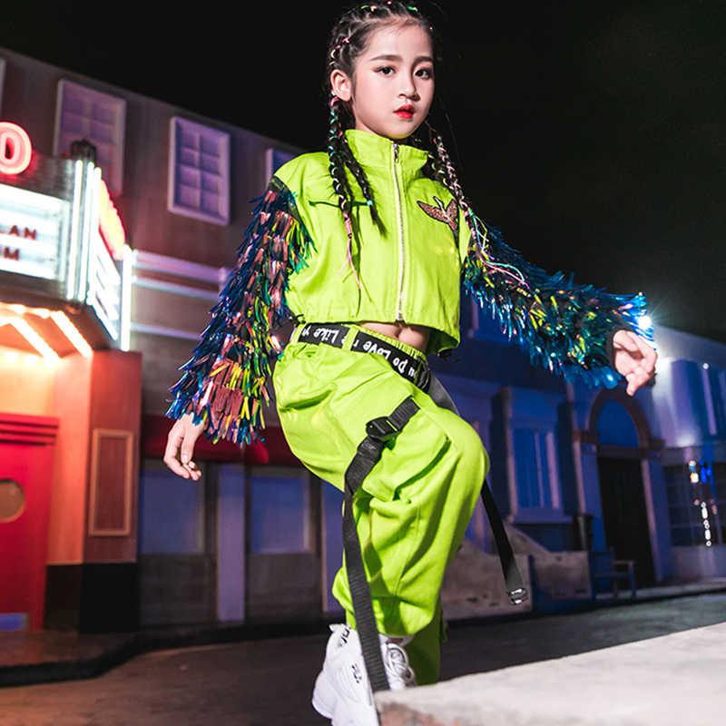 Hip Hop Dance Kostuums Fluorescerende Groen Kwastje Jas Meisjes Jazz Kleding Kinderen Street Dancing Stage Prestaties Slijtage DN4099