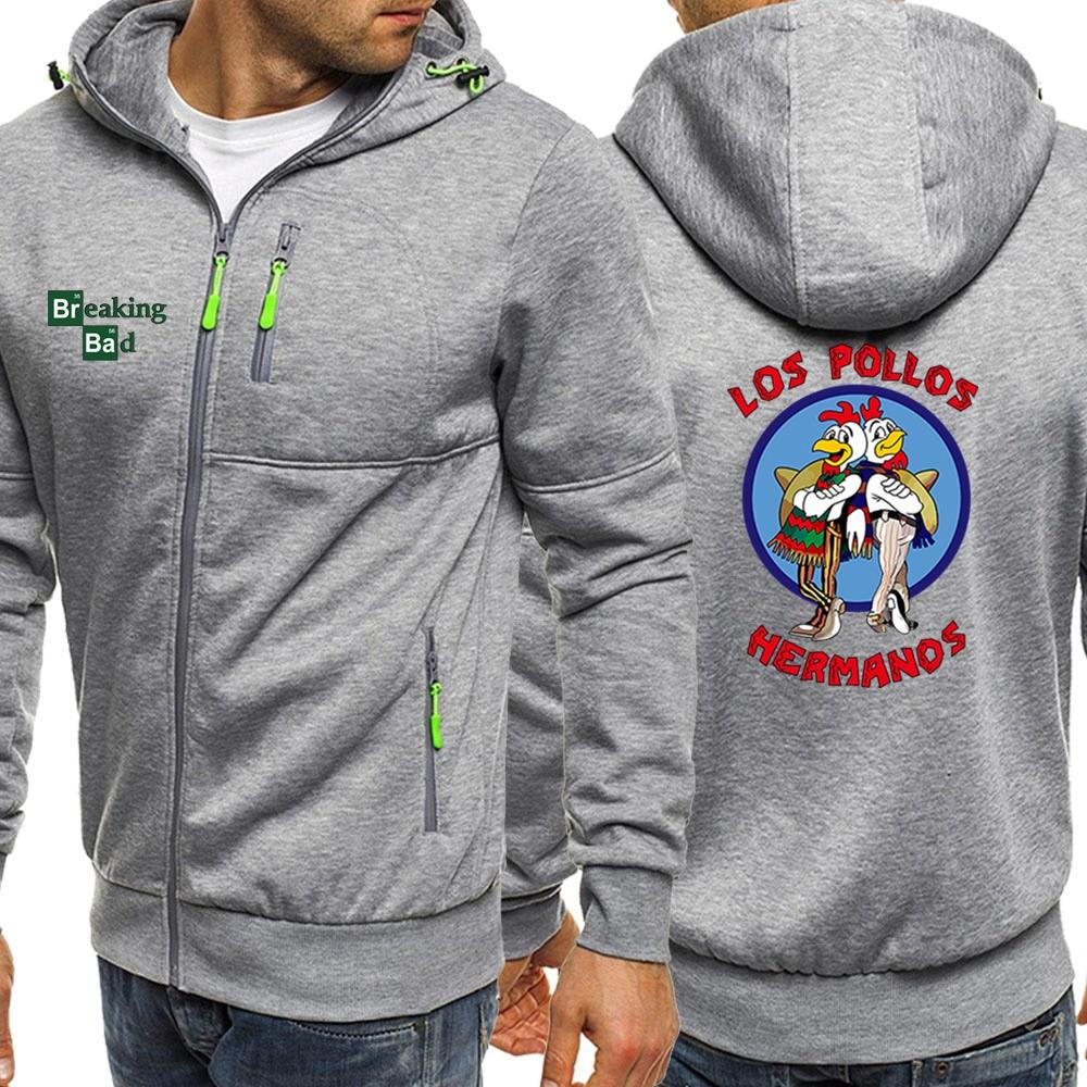 Men Hoodie Breaking Bad Los Pollos Hermanos Autumn Sportswear New Jackets Zipper Fashion Coat Sweatshirt Male Fleece Streetwear