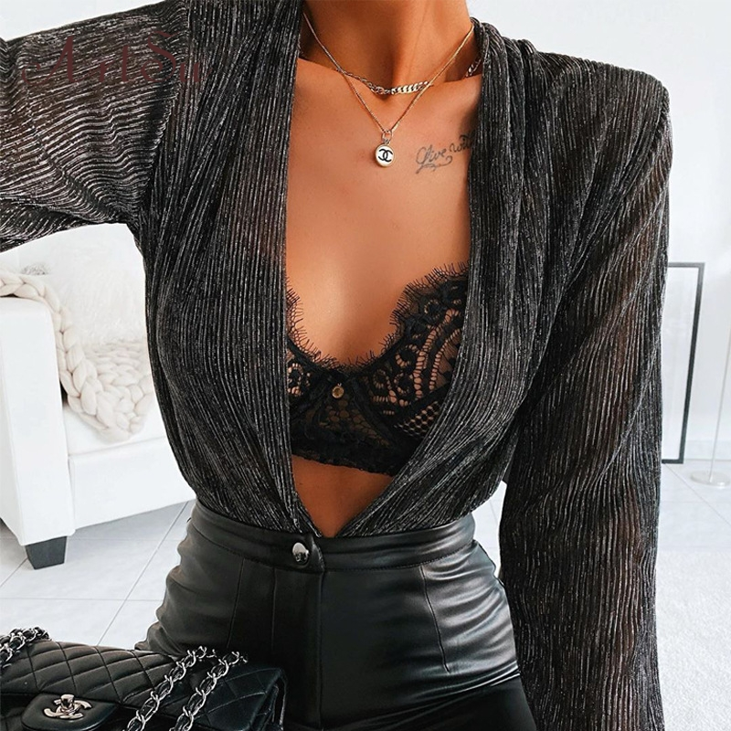 Artsu Deep V Neck Sexy Glittler Silver Tops Long Sleeve Party Bodysuit Women Elegant 2020 Spring Female Body Suit New ASJU60725