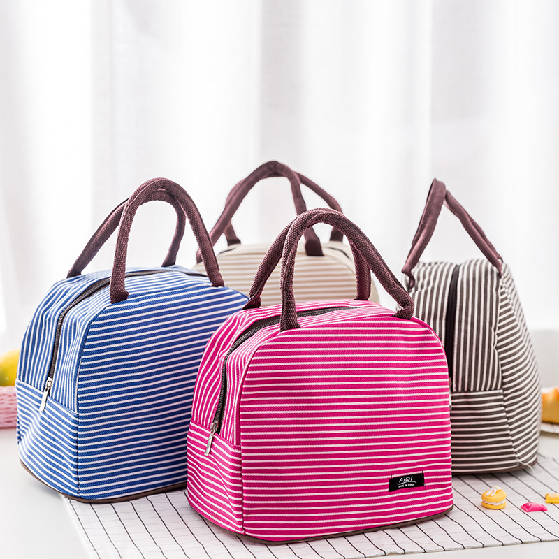 Women Portable Lunch Bag Canvas Stripe Insulated Cooler Bags Thermal Food Picnic Lunch Bags Kids Lunch Box Bag Tote Lancheira