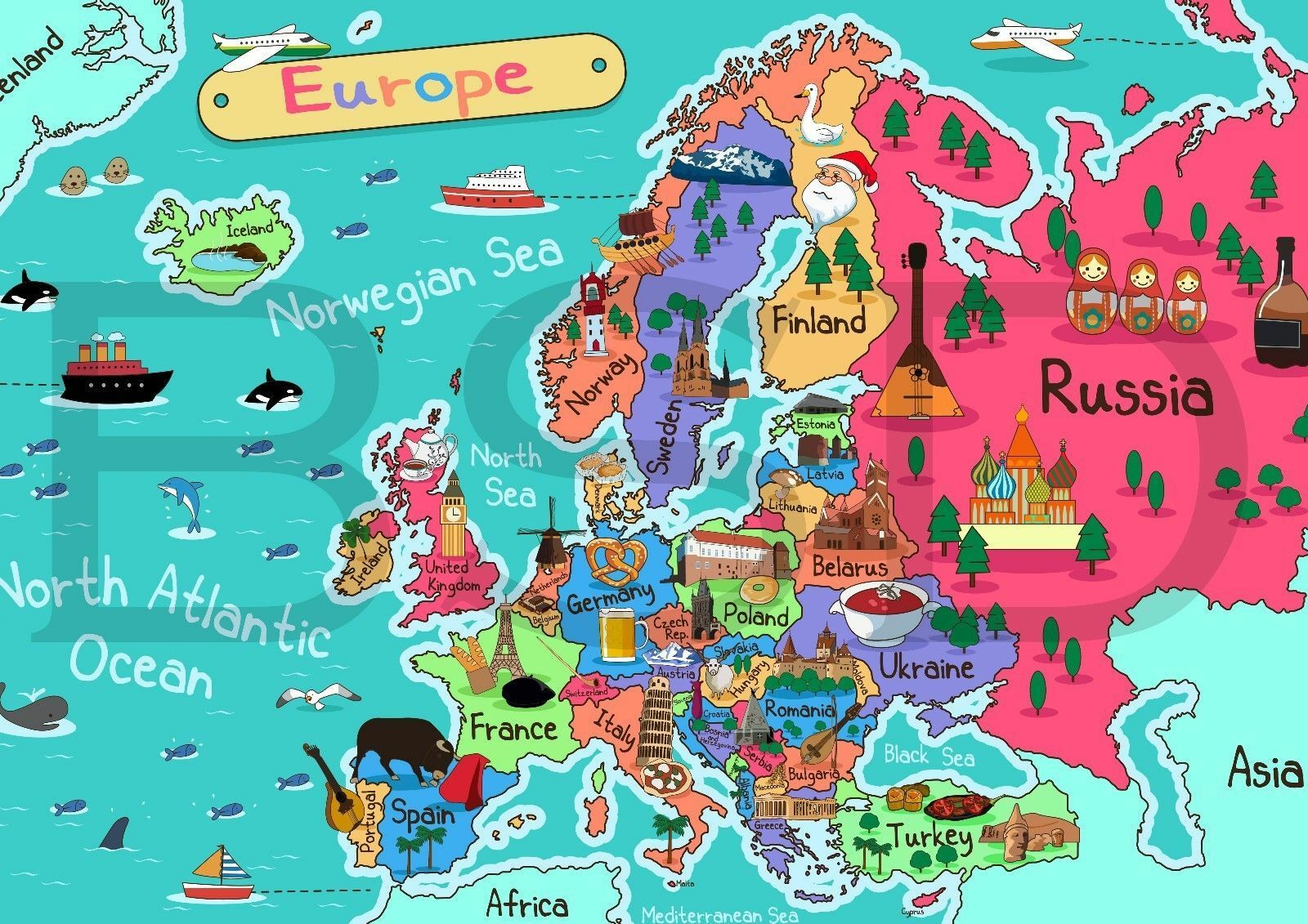 Map Of Europe For Kids KIDS MAP OF EUROPE EDUCATIONAL GEOGRAPHY SCHOOL Art Film Print