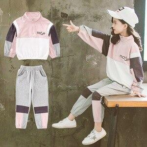 Детский спортивный костюм для девочек, детская школьная форма с длинными рукавами в стиле лоскутного шитья, комплект одежды для малышей, де...