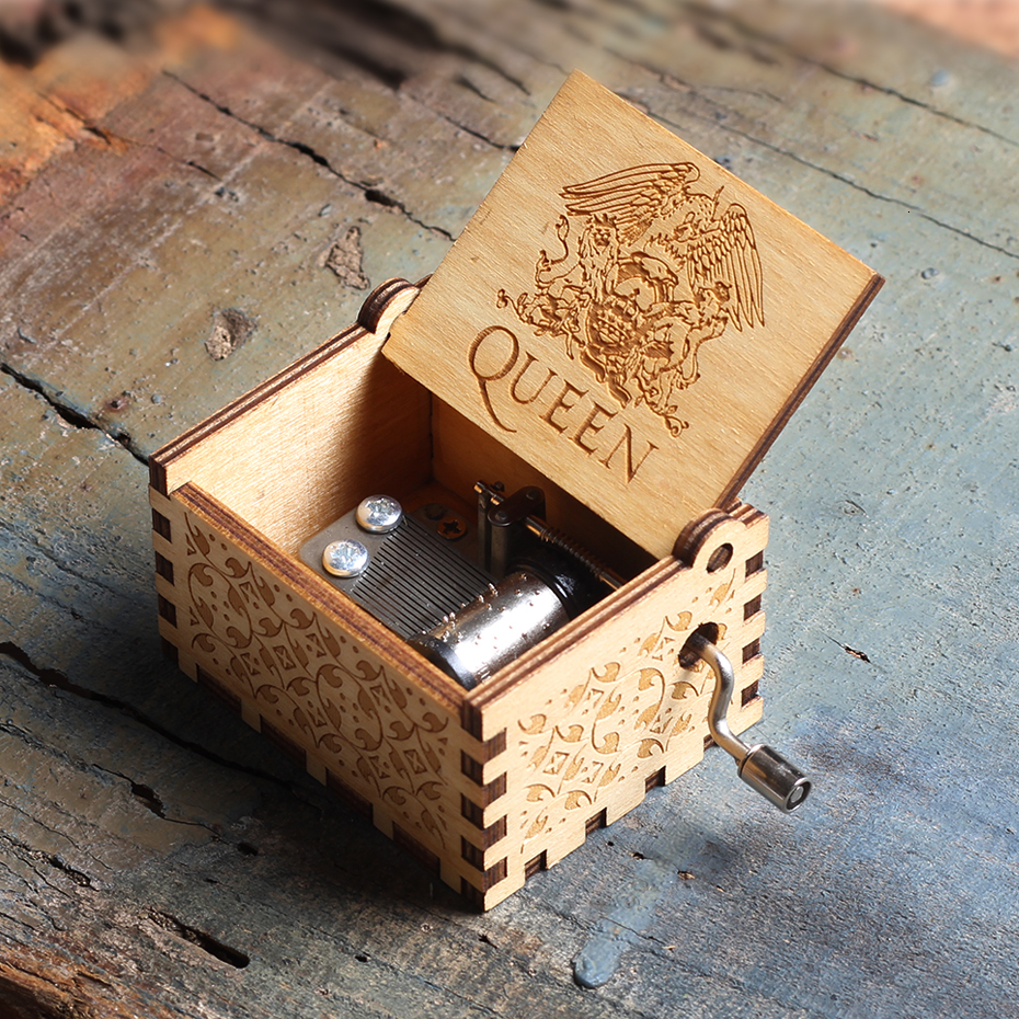 New Queen Music Box Wooden Hand Cranked Imagine John Island Princess Games Of Trhones Love Dad And MOM Star Wars Christmas Gift image