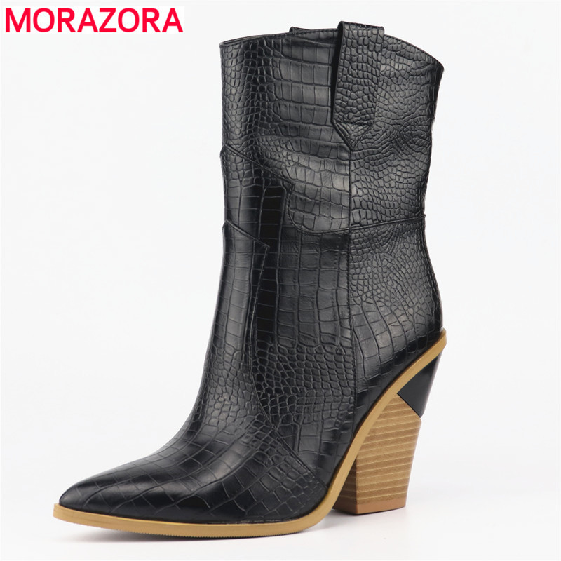 MORAZORA SIZE 33-46 Brand Stone grain Microfiber Leather women boots pointed toe autumn winter boots ladies mid calf boots shoes