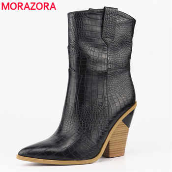 MORAZORA SIZE 33-46 Brand Stone grain Microfiber Leather women boots pointed toe autumn winter boots ladies mid calf boots shoes - DISCOUNT ITEM  48% OFF All Category