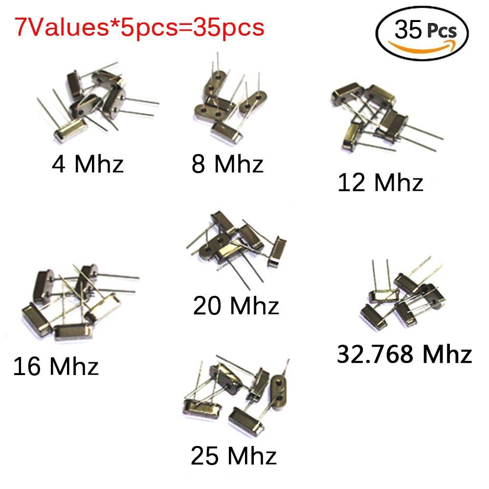 35pcs/Lot Crystal Oscillator Electronic Kit, HC-49S 7 kind DIP Quartz Oscillator 32.768Khz 4Mhz 8Mhz 12Mhz 16Mhz 20Mhz 25Mhz