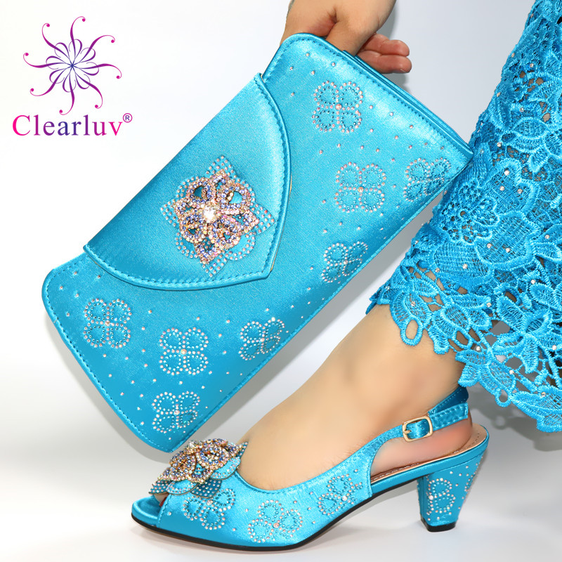 Sky Blue New Women Nigerian Shoes with Matching Bag Set 2019 for Party Wedding High Heels Slippers and Bag Set with Crystal