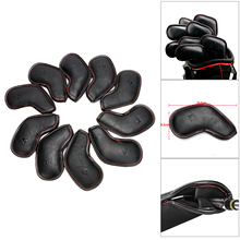 Club-Covers Golf-Iron-Head-Cover Protective-Sleeves-Cover Premium Black 12pcs of Pack