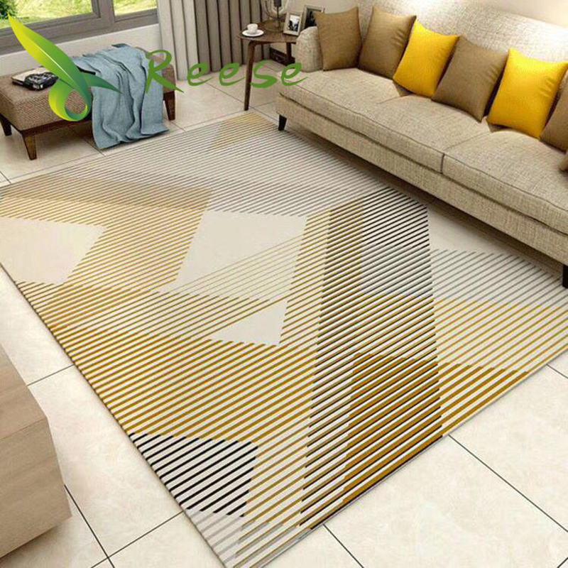 Nordic Modern Carpet Rug For Living Room Abstract Geometric Wood Floor Rug Antifouling Carpet For Bedroom Parlor Factory Supply-in Carpet from Home & Garden
