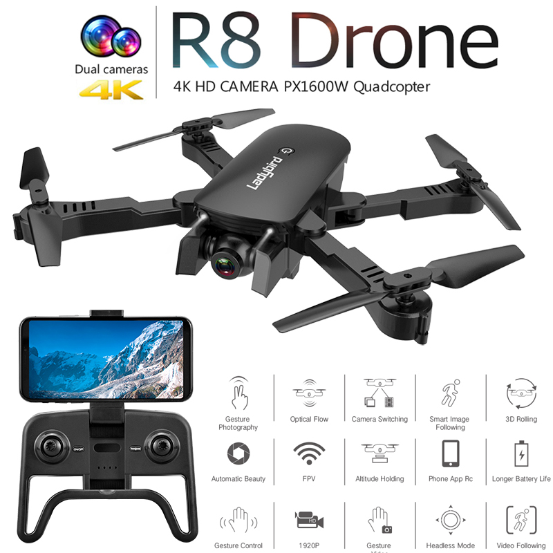 R8 Radio Controlled Drone 4K Optical Flow Positioning GPS FPV Camera HD Brushless RC Helicopter Quadrocopter Drone Camera Toys image