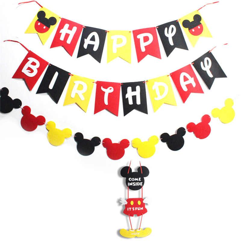 Cartoon Mickey Mouse Thema Bestek Partij Decoratie kinderen Verjaardagsfeestje Supplies Babybadje Levert Decoratie