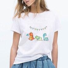 Женские футболки большого размера топ с принтом динозавра футболка