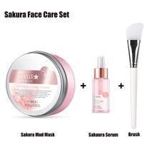 Sakura cuidados faciais sakura máscara de lama + soro para rosto e corpo purificando máscara facial para acne cravos e pele oleosa