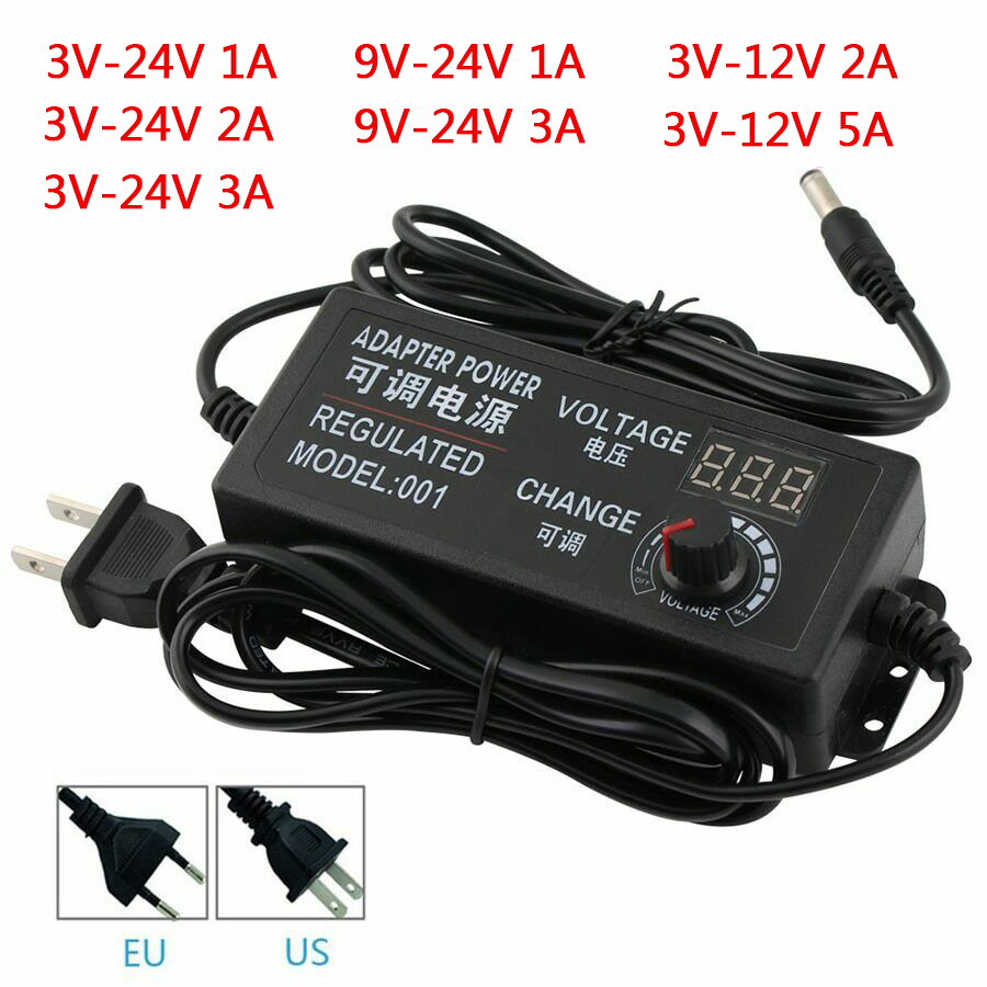Adjustable AC To DC Power Supply 3V 5V <font><b>6V</b></font> 9V 12V 15V 18V 24V 1A 2A 5A Power Supply <font><b>Adapter</b></font> Universal <font><b>220V</b></font> To 12 V Volt <font><b>Adapter</b></font> image