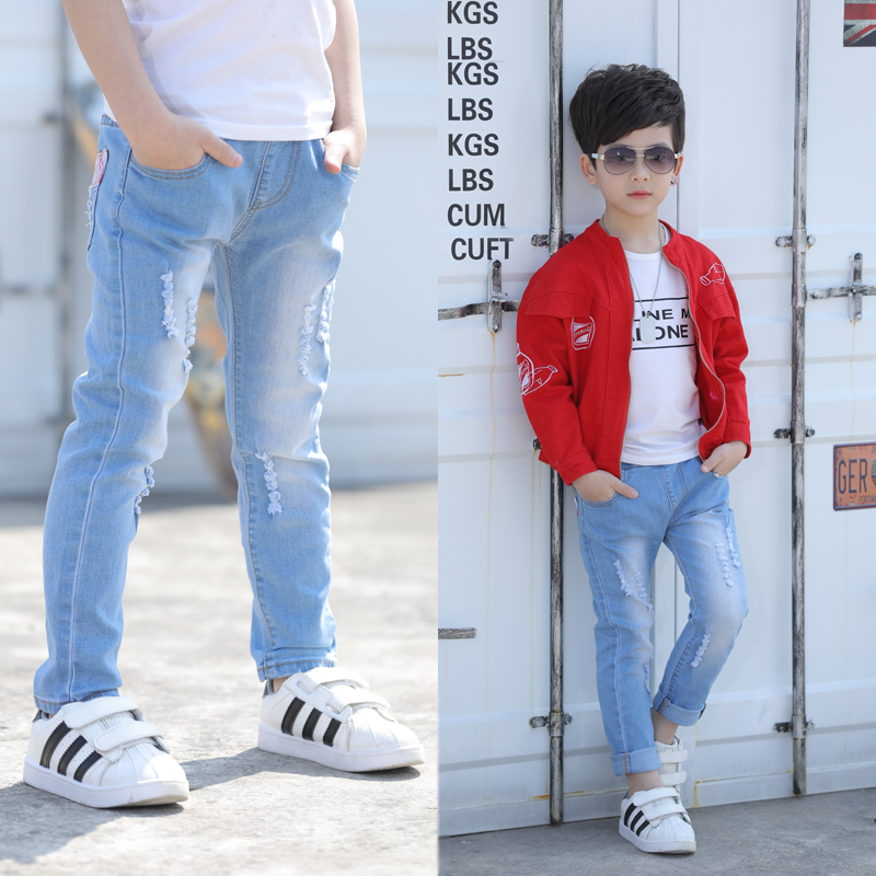 2019 New Boys' Jeans Children's wear Spring and Autumn Children's Single Pants for the age of 3 4 5 6 7 8 9 10 11 12 13 image
