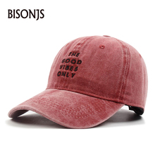 BISONJS 2020 New Men Washed Baseball Cap Embroidery Women Adjustable Caps Curved Eaves Couple Hip Hop Hat Breathable Sun Hats
