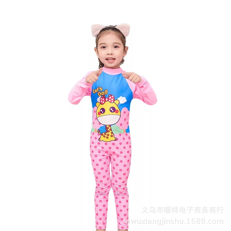 New Style Children Long Sleeve Trousers One-piece Swimming Suit Sun-resistant Men And Women Big Boy Cartoon Diving Suit Bathing