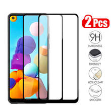 2Pcs Protective Glass For Samsung Galaxy A21 Glass Screen Protector on the Samsun A21 A20 A 21 Front Full Cover Phone Film Armor(China)