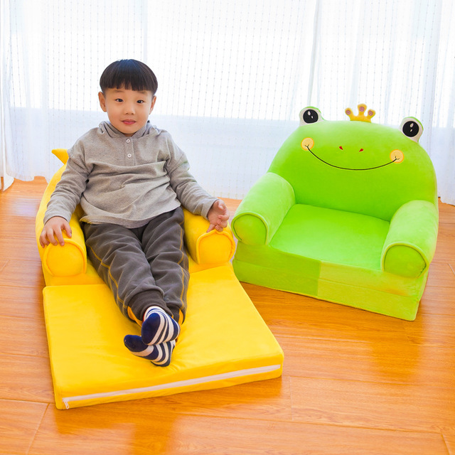 Cartoon Children Folding Small Sofa Girl Boy Princess Baby Sofa Chair Kids Lazy Tatami Single Cushion Seat Removable Washable
