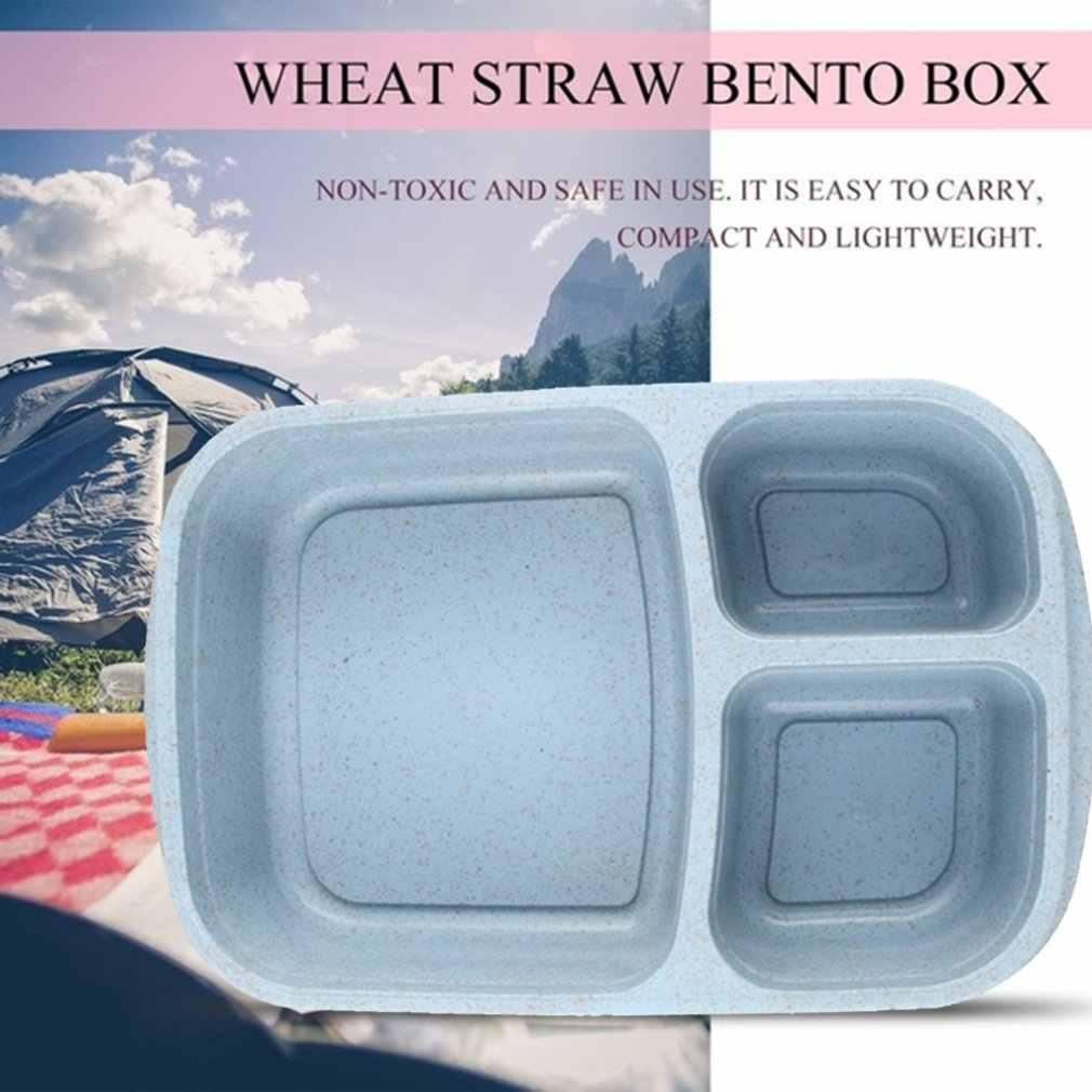 Tres rejillas vajilla paja trigo caja cuadrada para almuerzo caja de almuerzo transparente estudiante caja de comedor Sushi Crisper