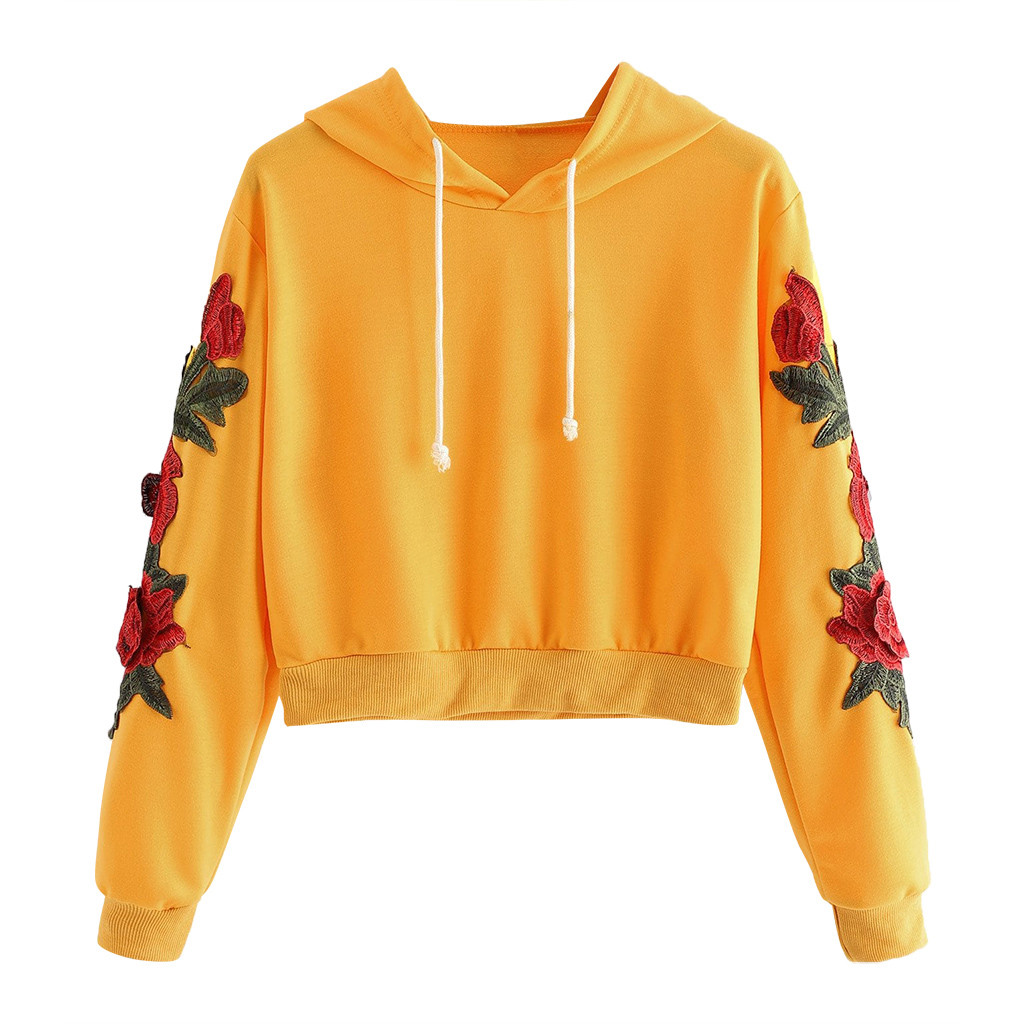 Floral Needlepoint in Soft Pastels Womens Sports Long Sleeve Crop Hoodie Sweatshirt Top Pullover Hooded Sweatshirt