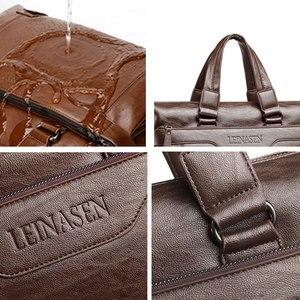 Image 5 - Mens Leather Briefcase PU Material 15inch Mens Shoulder Bag For Men Crossbody Bags 2019 Fashion Bussiness Briefcase handbag