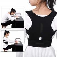Men's and Women's Magnetic Shoulder Back Correction Belt Black Adjustable Posture Corrector Belt Clavicle Spine Brace Support