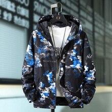 Plus Size 10XL 9XL 8XL 7XL Men Bomber Jacket Thin Slim Long Sleeve Camouflage Military Jackets Hooded Windbreaker Outwear Army