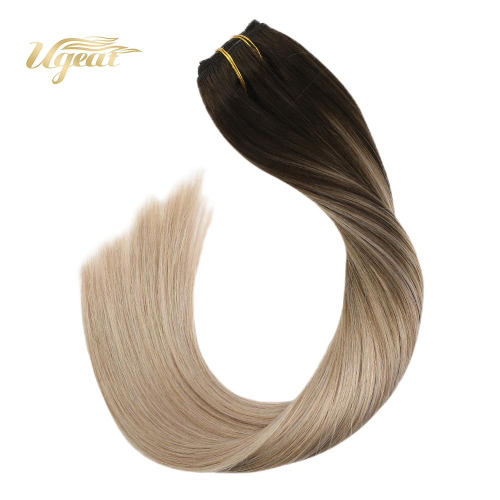 Clip In Hair Extensions Human Hair Brazilian Straight Human Hair Machine Made Remy Clip Ins 14-22
