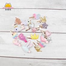 Hair-Clips Sweet-Crown Baby-Girls Kids Barrettes Unicorn Rabbit-Ears-Pins Cartoon Sequins