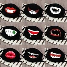 Máscaras negras de diseño dental de dibujos animados, mufla de ciclismo a prueba de polvo, Unisex, primavera gruesa de algodón, media cara, boca reutilizable
