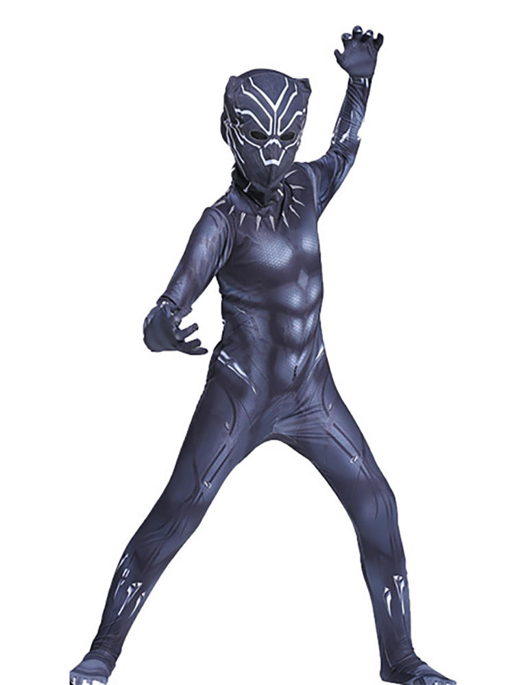 Panther-Costumes Jumpsuits Movie-Props Party-Dress Fancy Black Kids for Cosplay