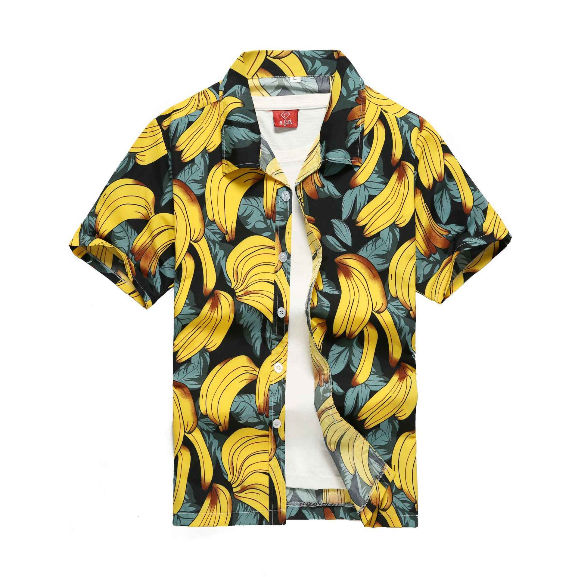 Men Short Sleeve Funny Printed Top Casual Hawaiian Shirt Loose Beach Holiday Tee