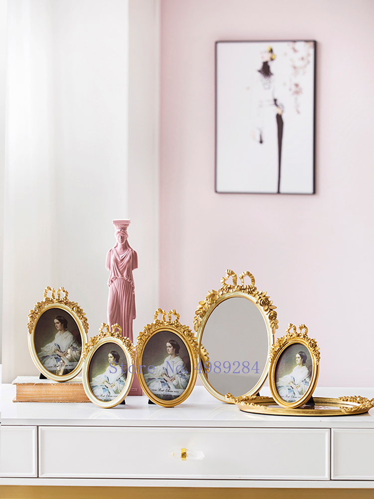 Retro Resin Golden Photo Frame Mirror Bow Modern Home Decoration Background Wall Accessories Picture Girl Room Furnishing Frame Aliexpress
