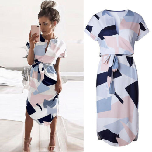 New Elegant Fashion Women Summer Boho Long Maxi Evening Party Dress Beach Dresses Sundress