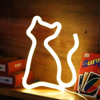 amagle usb battery powered flamingo neon lamp pink led strip wall hanging neon lights bedroom decoration marquee neon signs Wedding LED Signs Neon Light Cat Shaped Atmosphere Lamp Party Wall Decor Kids Room Bedroom Gift USB Battery Operated Low Voltage
